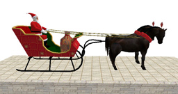 Santa in Sleigh with Horses